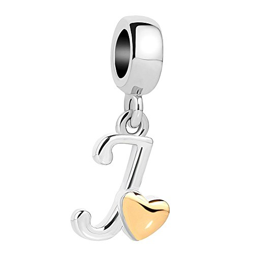 UNIQUEEN Letter Initial J Alphabet Charms Dangle Golden Heart Bead for Charm Bracelets