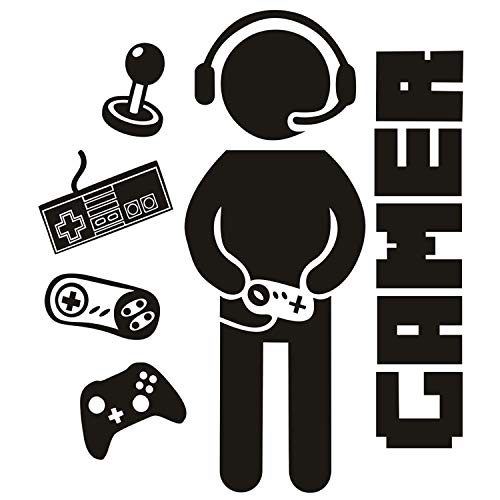 Gamer Wall Decals Controller Video Game Wall Stickers for Boy Bedroom Kids Room Playroom Nursery Home Decoration (Game)