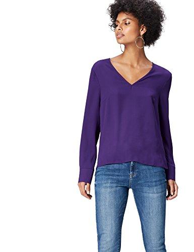 Amazon-Marke: find. Damen Bluse V Neck, Blau (Violet Indigo 19-3750), 34, Label: XS
