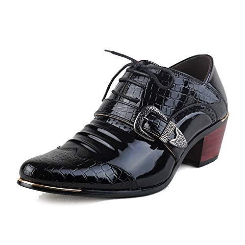 Best-choise Oxford de Negocios Casual para Hombres Zapatos de tacón Alto Estilo británico con Estampado de cocodrilo con Cordones Llamativo (Color : Negro, tamaño : 44 EU)