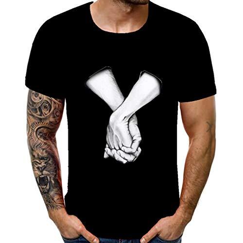 Overmal Hommes 3D Animal Impression Casual Manches Courtes Chemises T-Shirts Homme Imprimé Manches Courtes de Style Créatif Graffiti Imprimé Tops Tee Unisexe Pullover