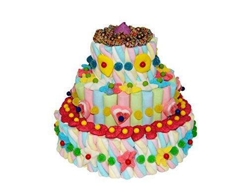"""Original Tarta Decorativa de Golosinas Surtidas""""Diseño"""" 3 Bases. Juguetes y Regalos Baratos para Fiestas de Cumpleaños, Bodas, Bautizos, Comuniones y Eventos."""