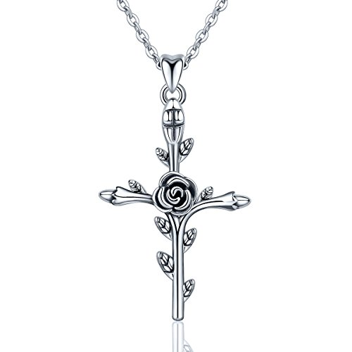 EUDORA Sterling Silver 'God Bless' Vintage Christian Rose Cross Pendant Necklace Jewelry Gift for Women,18'
