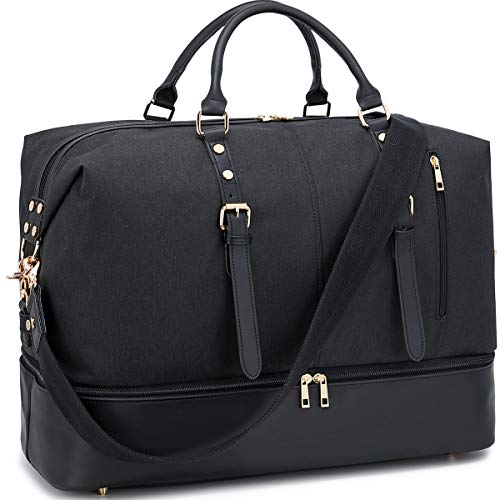 Weekender Overnight Bag Oversized Travel Duffel Leather for Men and Women Carry On Tote Shoe Compartment (Black-D)