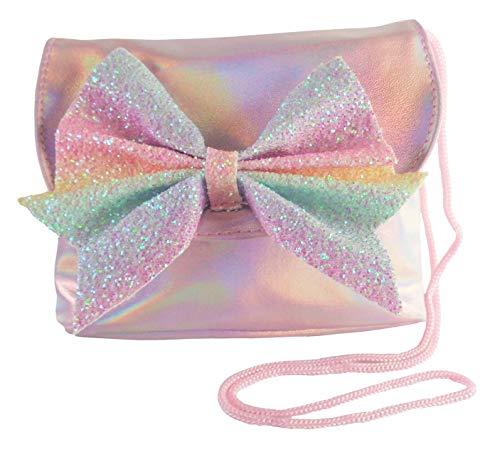 Bolso divertido para niños rosa con lazo de purpurina arcoíris