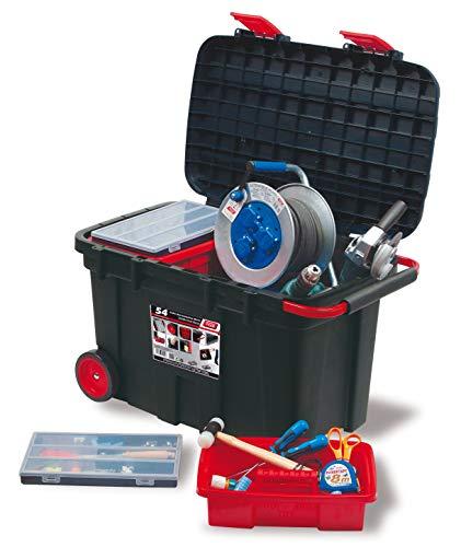 Preisvergleich Produktbild Tayg 154003 Bewegliche Werkzeugtruhe Nr.54 Mobile Werkzeugbox No 54 / 775 x 472 x 493 mm / 105 Liter / schwarz-rot