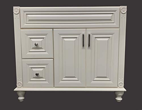Antique White Solid Wood Single Bathroom Vanity Base Cabinet 36' W x 21' D x 32' H (Left Drawers)