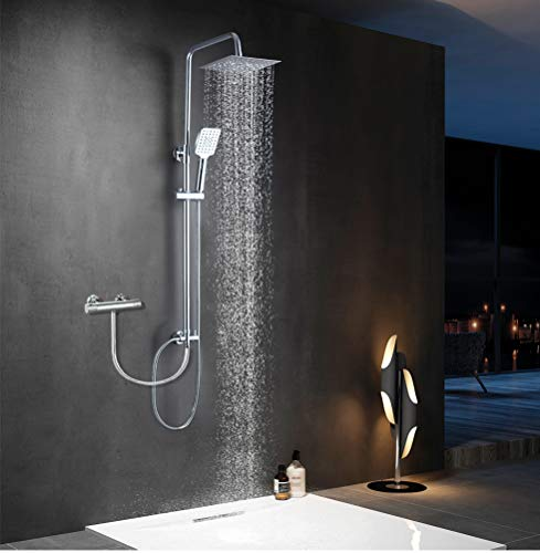 Elbe® Duschsystem ohne Armatur, Regenduschset aus Edelstahl, Duschsäule mit quadratische Kopfdusche, Duschstange von 79-119cm verstellbar