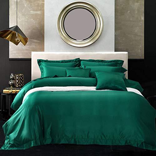 JXBoos Nordischen königlichen Real Waschen Seide Bettbezug, 4 stück Anzug Bettbezug Bettlaken Kissenbezug * 2 Luxus Bettzeug Rokoko-Stil Tiefschlaf-Grün Bett Breite 6ft(180cm)