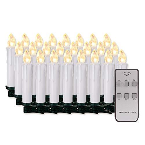 20/30/40/50/60 stk LED Kerzen LED Lichterkette Kabellos Dimmbar Kerzenlichter Flammenlose Weihnachtskerzen für Weihnachtsbaum, Weihnachtsdeko, Hochzeit, Geburtstags, Party (weisse Hülle, 20stk)