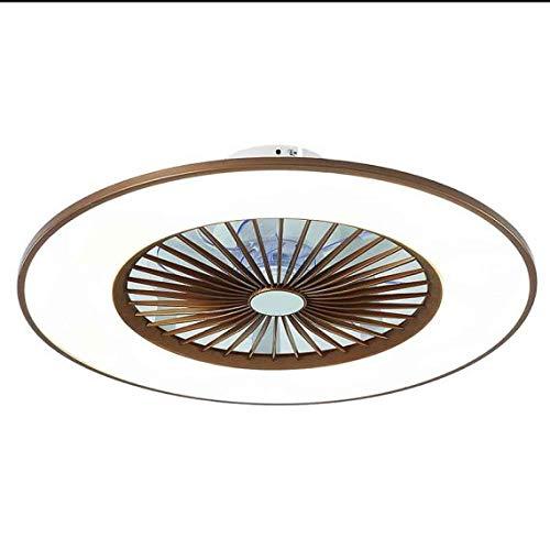 TODOLAMPARA - Ventilador de techo con luz LED 24W modelo BOFU color Café, 3 tonalidades, aspas interiores escondidas y protegidas, 3 velocidades, control remoto, memoria y temporizador, 56cm diámetro
