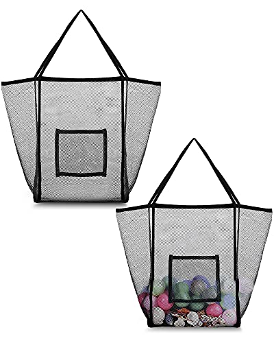 2 Pieces Mesh Beach Bags, Oversized Beach Toy Bags and Handbag Backpacks for Storing Beach Toy Towels, Groceries, Picnic Women's One Shoulder Handbag...