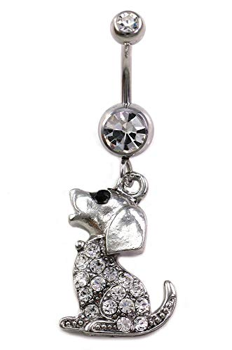 Dog Doggy Poodle Animal Dangle Navel Belly Ring Body Fashion Jewelry 14 Gauge