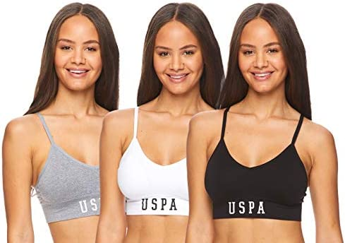 U S Polo Assn Womens 3 Pack Seamless Cami Sports Bra with Removable Padding and Adjustable Straps product image