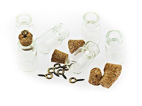 6 kleine, befüllbare Glasflaschen mit Korken und Öse von Vintageparts, DIY-Schmuck