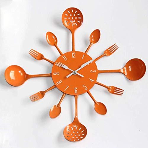 FAEIO Farbige Besteck Metall Wanduhr Löffel Gabel Küche Kreative Quarz Wanduhren Modernes Design Dekorative Horloge Murale
