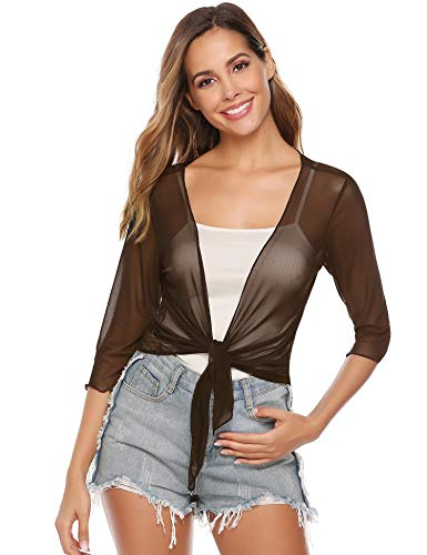 Damen Bolero 3/4 Arm Elegant Jäckchen für Kleid Leicht Sommer Cardigan Dünne Jacke zum Knoten,Kaffee,XL