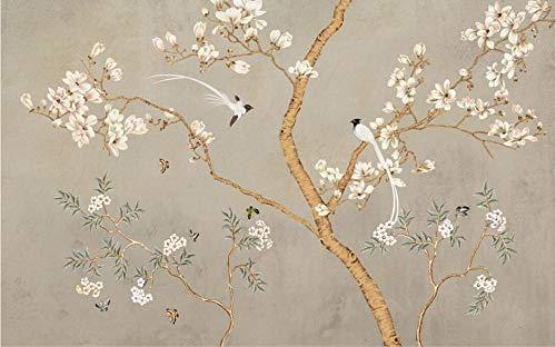 Tapete Fototapete 3D Effekt Handgemalte Blumen Und Vögel Magnolie Vliestapete 3D Fototapeten Wanddeko Wandbilder Wohnzimmer,400cmX280cm