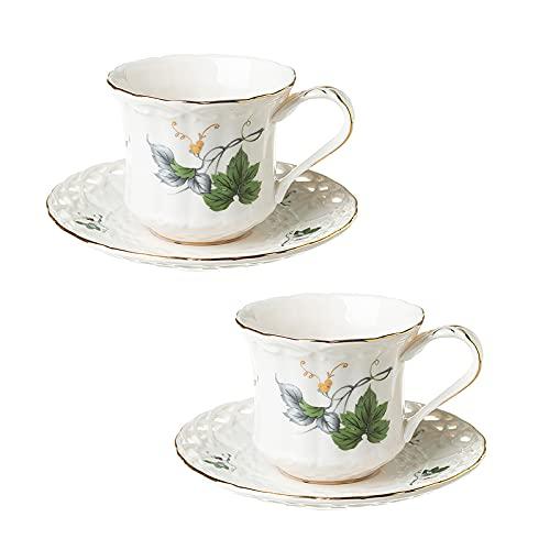YUDIZWS Juego de Taza de té y platillo de Porcelana de Hueso, Tazas de cerámica de Taza de café de Porcelana Vintage, 180 ML,Sets of 2