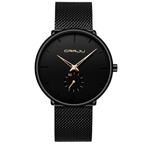 Mens Watches Ultra-Thin Minimalist Waterproof-Fashion Wrist Watch for Men Unisex Dress with Stainless Steel Mesh Band-Gold Hands