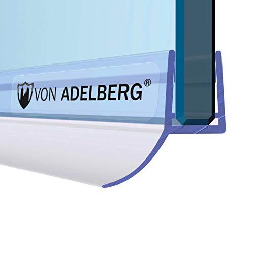 VON ADELBERG Duschdichtung Wasserabweiser Gerade PVC Ersatzdichtung für Dusche Typ: VA055 - Länge: 40 bis 200 cm - Glasstärke: 4, 6, 8, 10, 12 mm, Dichtung Länge:200 cm, Glasstärke:8 mm