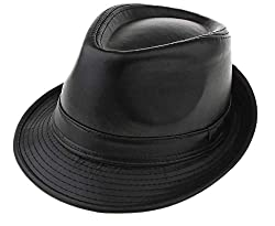 Zacharias Unisex Imported Stylish Fashionable Solid Cowboy Leather Fedora Hat Black