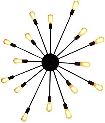 Lámpara industrial, Lámpara de techo de montaje en color de metal16 luces, pared de metal industrial, lámpara de pared de hierro forjado vintage retro e27 multi-cabeza para restaurante, loft, barra de