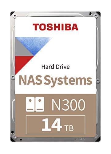 Toshiba N300 NAS-Festplatte, 14 TB Interne 3,5-Zoll-SATA-Festplatte, 24/7-Betrieb, optimal für NAS mit 1 - 8 Einschüben, 256 MB Puffer, 180 TB/Jahr Workload, 3 Jahre Garantie (HDWG21EUZSV).