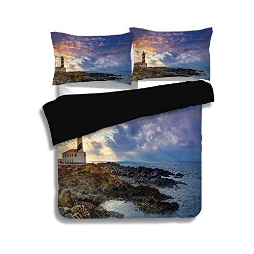 Juego de funda nórdica negra, decoración del faro, Cap de Favaritx Sunset Lighthouse Cape en Mahón en las Islas Baleares de España Costa, juego de cama decorativo de 3 piezas con fundas de 2 almohadas