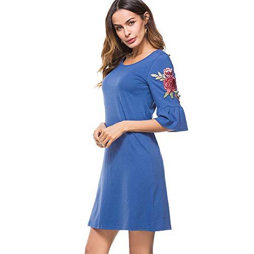 GMZA Nice-forever Causale Elegante Borduurwerk Rose Ronde Nek Blauwe Vestidos Trompet Mouw Werk Dames Rechte Shift Jurk