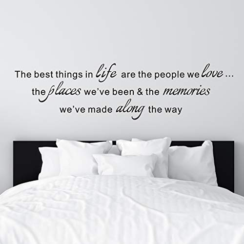 VODOE Wall Decals for Living Room, Family Wall Decals, Quote Home Bedroom Inspirational Couple Romantic Live Saying Home Art Decor Vinyl Stickers The Best Things in Life are The People We Love 31'x8'