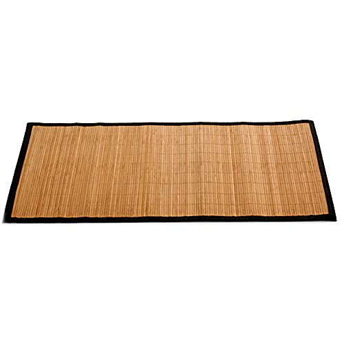 Alfombra de bambú Negra para Interior y Exterior, Alfombra Bambú Salón, Cocina, Despacho, Dormitorio, Antideslizante, con Cenefa, 50x80cm (Negro)