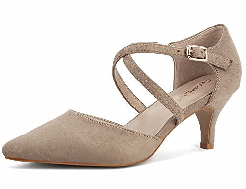 Greatonu Mujer Zapatos de Tacón Kitten Heel Tiras Cruzadas Puntiagudo de Salón...