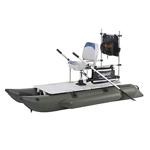 AQUOS 2021 New Backpack Series 8.8 ft Inflatable Pontoon Boat with Stainless Steel Guard Bar and Folding Seat for One Person Fishing, Aluminum Floor Board, Transport Canada Approved (8.8)