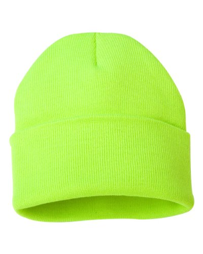 Sportsman - 12'' Solid Knit Beanie - SP12 - One Size - Safety Yellow