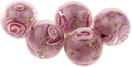 Juego de juguete de juguete de 5 flores hechas a mano Lampwork oro arena cuentas fabricación de joyas púrpura 12mm juguetes intelectuales