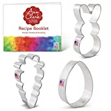 Ann Clark Cookie Cutters 3-Piece Easter Fun Cookie Cutter Set with Recipe Booklet, Easter Bunny, Egg and Carrot