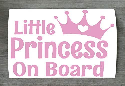 Autocollant de voiture en vinyle « Little Princess on Board » pour pare-chocs et fenêtre - Rose clair - HSS077