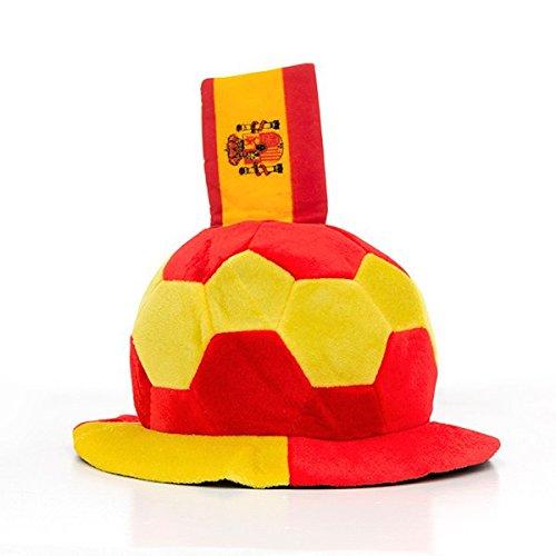 Eurowebb muts in de vorm van een voetbal, met Spaanse vlag, reliëf, fankostuum Spanje