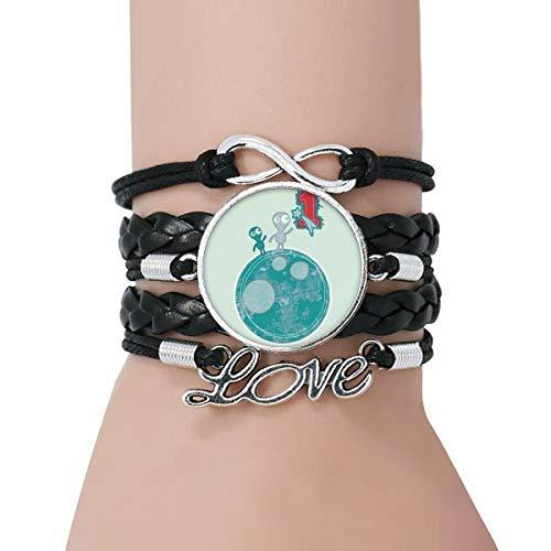 DIYthinker Damen Universum Und Alien Monster auf der Erde Armband Liebe Schwarz Verdrehte-Leder-Seil-Armband