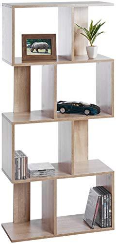 ts-ideen Design Regal Hochregal Standregal Bücherregal CD-Regal Aufbewahrung Holz Eiche Sonoma 130 x 60 cm
