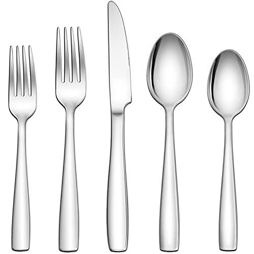 Herogo 18/10 Stainless Steel Silverware Set, 60-Piece Fancy Flatware Cutlery Set for 12, Modern Eating Utensils Tableware Set for Home Restaurant...