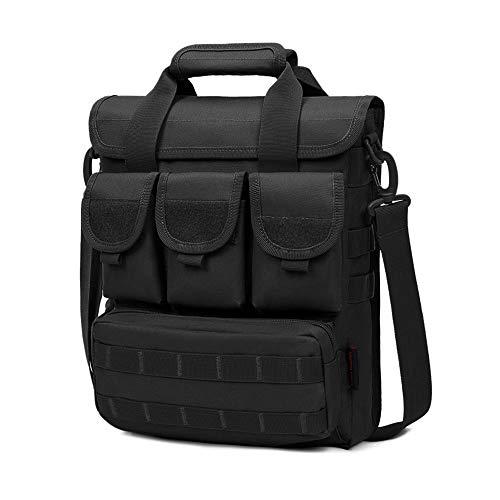 "Selighting Táctical Mochila de Bandolera,Expandible 12"" Portátil Laptop Bolsa de Mensajero Impermeable Múltiples Bolsillos y Compartimientos (Negro-1)"