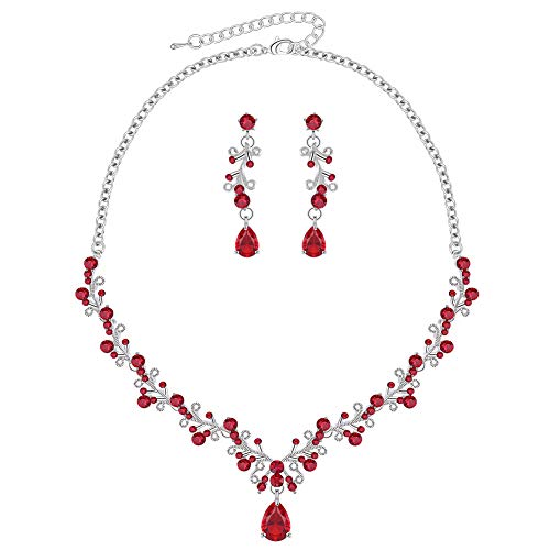 LILIE&WHITE Siam Imitation Diamond Party Jewelry Set Wedding with Necklace and Earrings Vine Shape