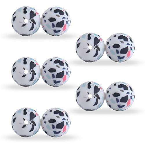 N|A Yuanshenortey - Perlas de silicona de 15 mm, accesorios para la fabricación de collares, pulseras, colgantes, juguetes, 10 unidades