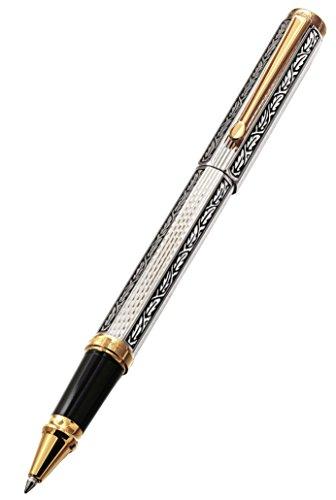 Xezo Legionnaire - Bolígrafo de punta rodante de oro de 18 quilates, chapado en platino, corte de diamante y grabado a mano, (Legionnaire 500 R)