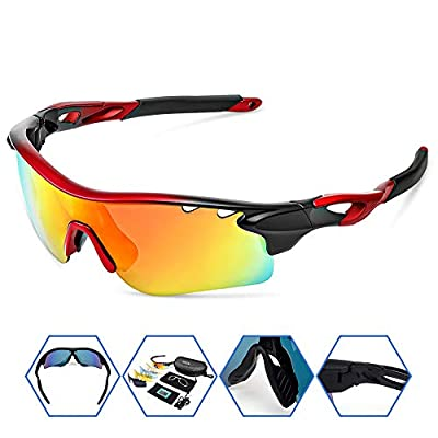SPOSUNE Polarized Sports Sunglasses with 5 Lens for Men Women Cycling Running Baseball