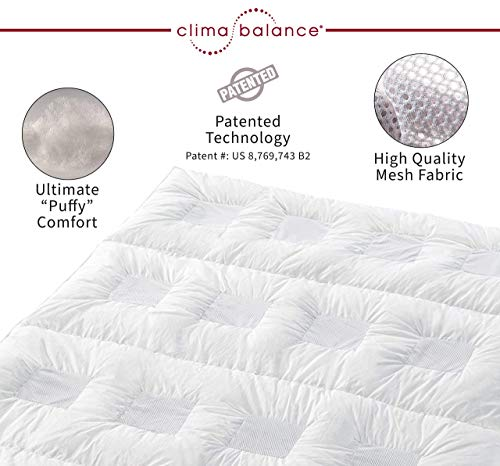 """Clima Balance - Hypoallergenic Lightweight All Year Down Alternative Comforter King - Breathable Patented Design - Increases Deep Sleep Phases up to 50% - Sensofill Virgin Polyester - King 110"""" x 96"""""""