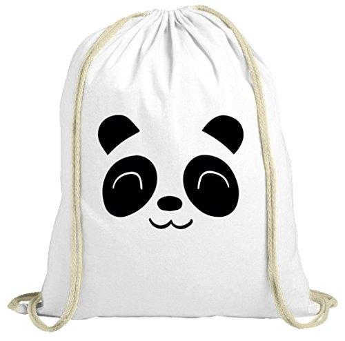Shirtstreet24 Tier natur Turnbeutel Cute Panda, Größe: onesize,weiß natur