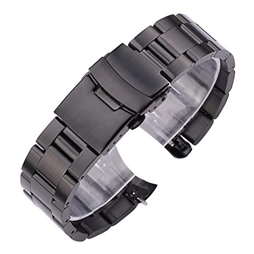 KESHIKUI New MEI Bracelet de Montre en Acier Inoxydable 20mm 22mm Hommes métal brossé de Montre de Montre Courbe Courbe Bracelet horloges Accessoires (Band Color : Black, Band Width : 22mm)